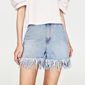 NWT Zara Frayed Hem Stretch Denim Bermuda Shorts